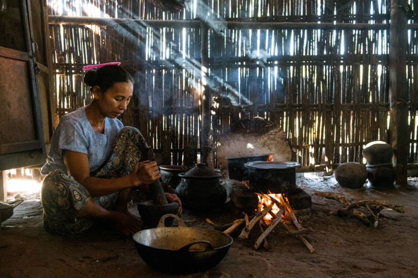 Woman cooking in Bagan